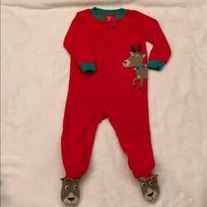 2T Carter's boys reindeer fleece one piece pajama
